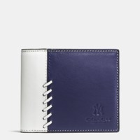 Coach Mlb Compact Id Wallet In Rip And Repair Leather Ny Yankees