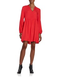Bb Dakota Ruched Hi Lo Long Sleeve Babydoll Tunic Red Lava