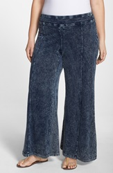 Xcvi 'Ivy' French Terry Wide Leg Pants Plus Size Acid Wash
