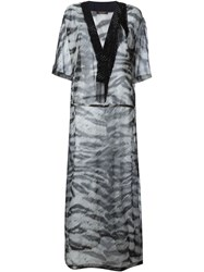 Roberto Cavalli Sheer Zebra Print Kaftan Dress Grey