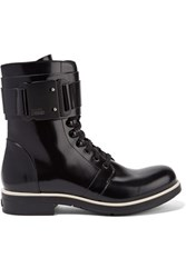 Karl Lagerfeld Glossed Leather Ankle Boots Black