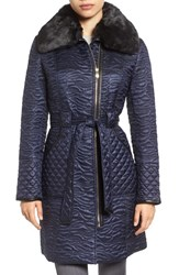 Via Spiga Women's Paisley Quilted Coat With Faux Fur Collar Navy