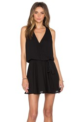 Krisa Surplice Flounce Dress Black