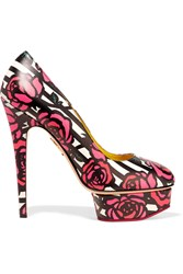 Charlotte Olympia Dolly Printed Leather Platform Pumps Pink