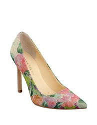 Ivanka Trump Pointed Toe Pumps Green Floral
