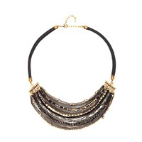 Adele Marie Statement Layered Bead And Chain Necklace Black Brown