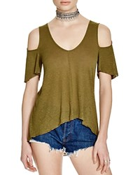 Free People Bittersweet Cold Shoulder Tee Dark Green
