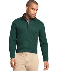 Van Heusen Big And Tall Heathered Quarter Zip Pullover Sweater Green Gables Heather