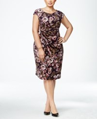Connected Plus Size Floral Faux Wrap Dress Eggplant Multi