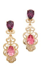 Oscar De La Renta Bold Crystal Filigree Clip On Earrings Dusty Rose
