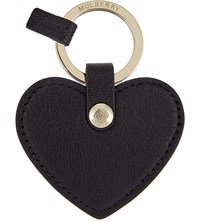 Mulberry Heart Leather Keyring Black