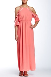 Peach Love Cream California Crochet Trim Shoulder Cutout Maxi Dress Pink