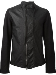 Lost And Found Panelled Biker Jacket Black