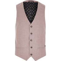 River Island Mens Red Linen Blend Smart Waistcoat