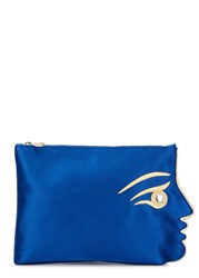Charlotte Olympia In Your Face Blue Satin Pouch