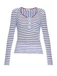 Frame Denim Le Nautical Long Sleeved Linen Top Blue Stripe