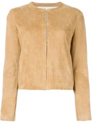 Drome Leather Fitted Jacket Nude And Neutrals