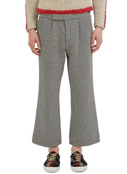 Aganovich Houndstooth Wide Leg Cropped Pants Black