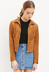 Forever 21 Fringed Faux Suede Jacket Tan