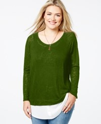 Soprano Plus Size Layered Look Sweater Olive