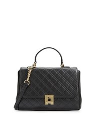 Calvin Klein Quilted Leather Satchel Black Gold