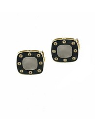 Roberto Coin Pois Mois Square 18K Yellow Gold Stud Earrings Black
