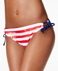California Waves Usa Printed Side Tie Hipster Bikini Bottom Women's Swimsuit Multi