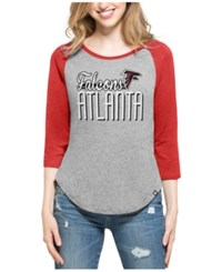 47 Brand '47 Women's Atlanta Falcons Club Block Raglan T Shirt Gray Red