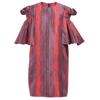 Ardent And Co Poppy Red Ruffle Jacquard Dress
