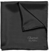 Charvet Silk Pocket Square Black