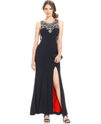 Betsy And Adam Petite Embellished Illusion Gown Black Red