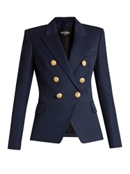 Balmain Six Button Double Breasted Wool Blazer Navy