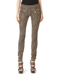 Michael Kors Jaguar Print Stretch Denim Zip Skinny Pants Toffee