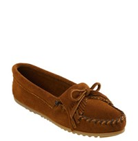 Women's Minnetonka 'Kilty' Suede Moccasin Brown