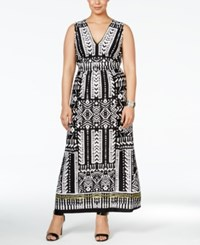Ny Collection Plus Size Fit And Flare Border Print Maxi Dress Black White