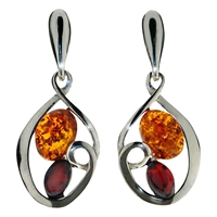 Goldmajor Amber And Silver Drop Down Earrings Silver