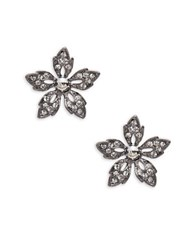 Gerard Yosca Crystal Pave Gunmetal Flower Stud Earrings Silver