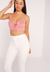 Missguided Lace Up Suedette Bralet Pink Peach