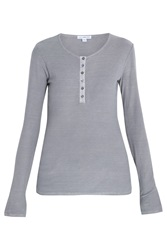 James Perse Cotton Jersey Button Front Top