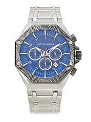 Saks Fifth Avenue Chronograph Stainless Steel Link Watch Blue