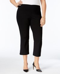 Jm Collection Plus Size Lattice Trimmed Capri Pants Only At Macy's Deep Black