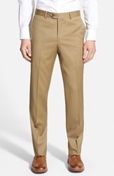 Nordstrom Flat Front Wool Trousers Tan