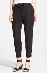 Women's Cj By Cookie Johnson Relaxed Linen Blend Cargo Pants Black