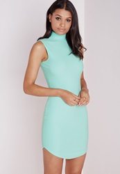 Missguided Sleeveless Curve Hem Bodycon Dress Mint Green