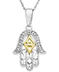 Macy's Sterling Silver And 14K Gold Necklace Diamond Accent Hamsa Pendant