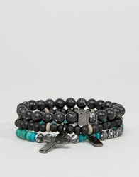 Icon Brand Cross Beaded Bracelet Pack Multi