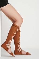 Forever 21 Scalloped Lace Up Sandals Tan