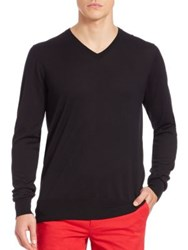 G Fore Onyx Thin V Neck Tencel Blend Sweater Black