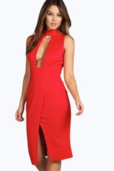 Boohoo High Neck Cut Out Wrap Midi Dress Red