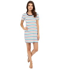 Tommy Bahama Rugby Short Sleeve T Shirt Dress Cover Up Multicolor Women's Swimwear